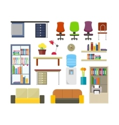 Set of Modern Office Furniture vector image vector image