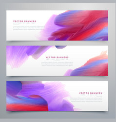 set of three watercolor paint banners vector image vector image