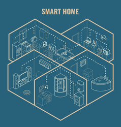 Smart house concept 3d isometric blueprint vector