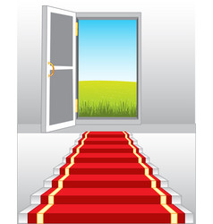 Stairway and door in nature vector