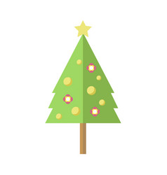 tall decorated cartoon christmas pine tree vector image
