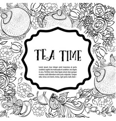 Time to drink tea the square monochrome fashion vector