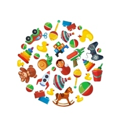 Toys icons for kids in circle shape vector