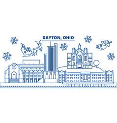 Usa ohio dayton winter city skyline merry vector
