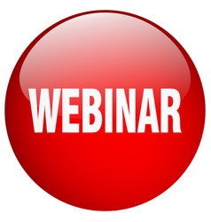 Webinar red round gel isolated push button vector