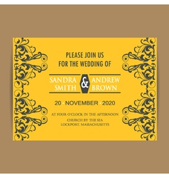 Wedding vintage invitation card yellow vector image vector image