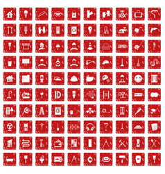 100 renovation icons set grunge red vector