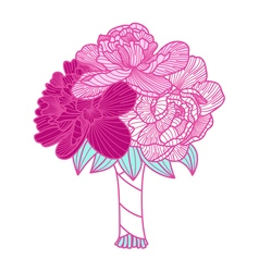 Wedding bouquet made of peonies vector