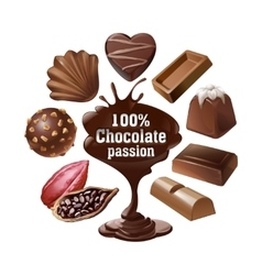 Set icons of chocolate vector