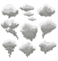 Cartoon smoking fog clouds vector