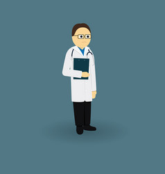 Doctor in medical gown with a stethoscope vector