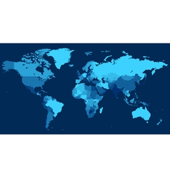 World map with countries on blue background vector