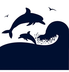 Dolphins jumping wave vector image