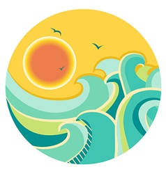 Vintage color seascape with sun on round symbol vector image