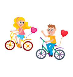 boy and girl dating riding bicycles together vector image
