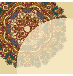 ornate card with circle ornamental floral pattern vector image