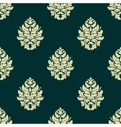 Floral light green damask seamless pattern vector image