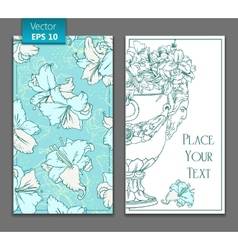 White lilies antique flowerpot greeting card vector