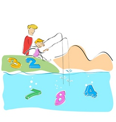 Father and son fishing numbers vector