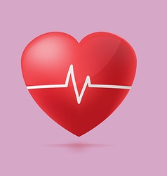 Red heart beat graph hospital vector
