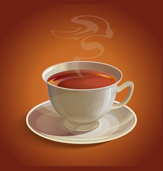 Isolated realistic white tea cup and saucer with vector
