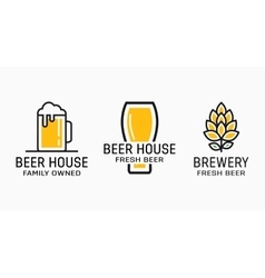 Set of vintage beer and pub logos labels with vector