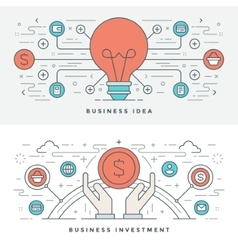 Flat line business idea and investment vector