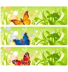 Butterflies in grass banners vector