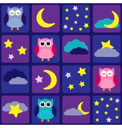 Night sky with owls vector