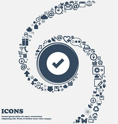 Check mark tik icon sign in the center around the vector