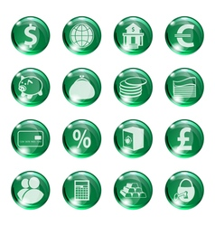 Set of icons of green color on a subject bank vector image