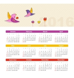 Calendar for 2016 with bird Week Starts Sunday vector image vector image