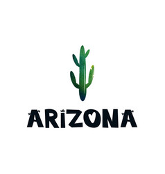 Card with green cactus and text arizona black and vector