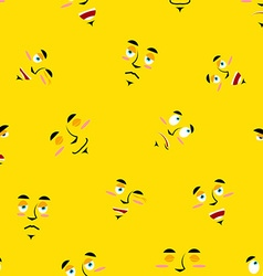 Cartoon faces seamless pattern Set of emotions on vector image