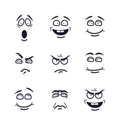 cartoon faces with expressions emotion set vector image vector image