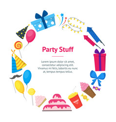 cartoon party holiday banner card circle vector image vector image