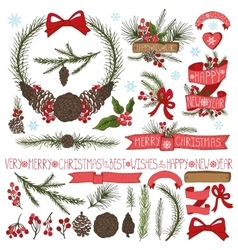 Christmas decor setSpruce branchespine cones vector image