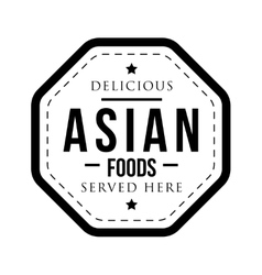 Delicious asian foods vintage stamp vector