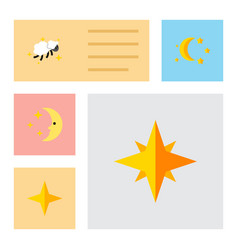 Flat icon bedtime set of bedtime night nighttime vector