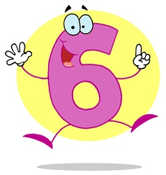 Funny cartoon friendly number 6 six guy vector