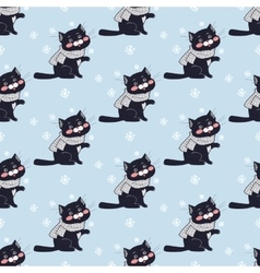Funny cats seamless pattern in flat design vector