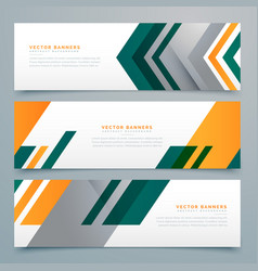 Geometric business banner design set vector