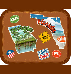 Georgia florida travel stickers vector