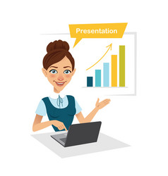 Girl is showing process of profit growth on chart vector
