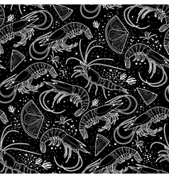 Graphic shrimps pattern vector image vector image