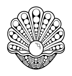 Hand Drawn pearl in a shell vector image vector image