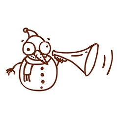 Hand Drawn Snowman with Loud Speaker vector image vector image