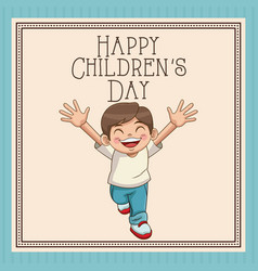 happy children day card cute boy smiling cheerful vector image