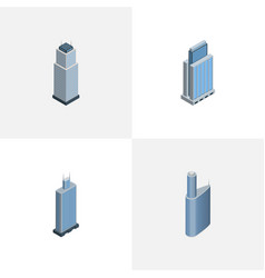 isometric skyscraper set of tower business center vector image