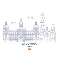 la coruna city skyline vector image vector image